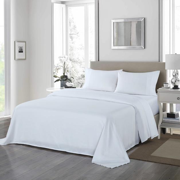 Royal Comfort 1200 Thread Count Ultrasoft 4 Piece Sheet Set - Queen - White