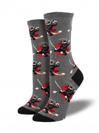 Women's Ninja Cat Crew Socks - Charcoal Heather