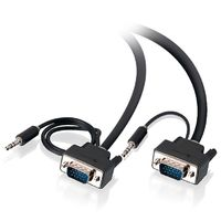 Alogic Pro Series Slim flexible VGA Cable with 80cm & 30cm 3.5mm Stereo Audio Cable - Male to Male (1m)