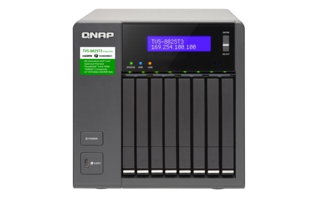 """QNAP TVS-882ST3-i7-16G NAS,2.5""""x8BAY(NO DISK),16GB,I7-6700HQ,T3(2),10GBASE-T(2),TWR,2YR"""