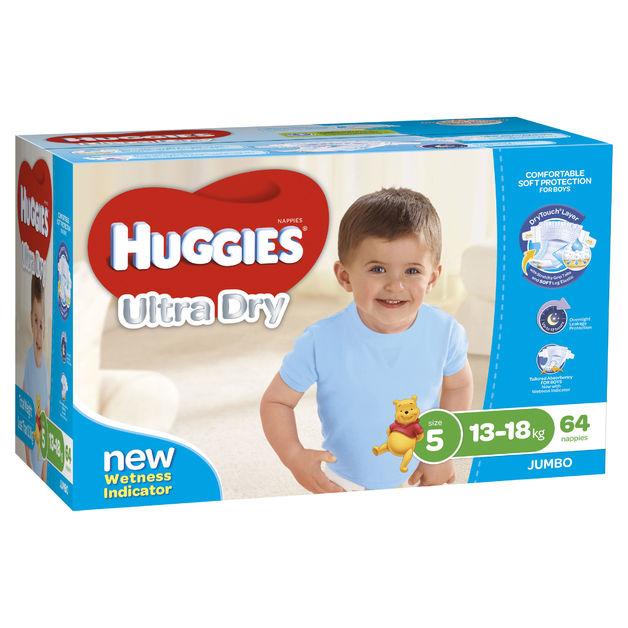 Huggies Ultra Dry Nappies: Jumbo Pack - Walker Boy 13-18kg (64)