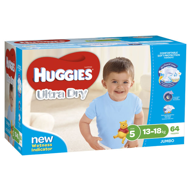 Huggies Ultra Dry Nappies Jumbo Pack - Size 5 Walker Boy (64)