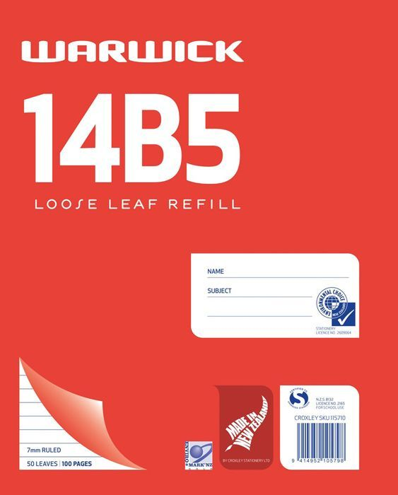 Warwick 14B5 50lf 7mm Ruled Loose Leaf Refill