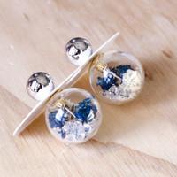 Short Story: Fantasy Bubble Earrings - Flower Blue