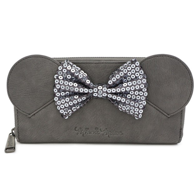 Loungefly: Mickey Mouse - Minnie Grey with Bow Zip Wallet