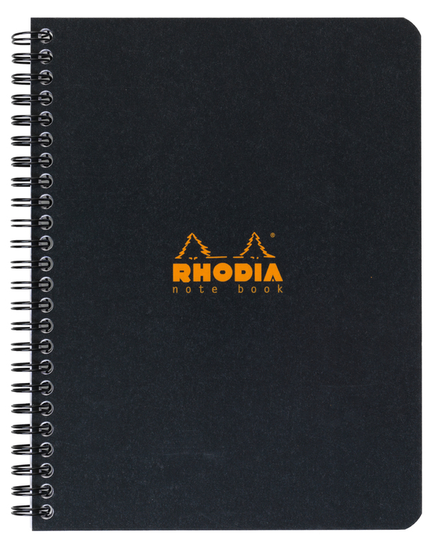 Rhodia Classic Notebook Wireb A5+ 80 Lined Sh - Black