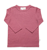 Babu Merino Crew Neck Long Sleeve Tee - Pink Heather - (1 Year) image