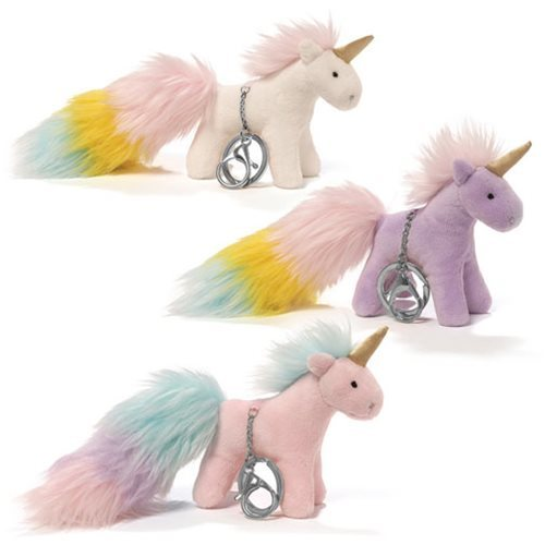 Unicorn Rainbow: Poof Tails Plush Key Chain - White