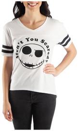 Nightmare Before Christmas Jack Yoked Hi-Lo V Neck T Shirt 2XL