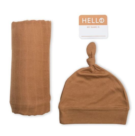 Lulujo: Bamboo Hat and Swaddle Blanket - Tan