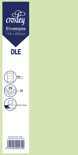 Envelope DLE Green - 114x225mm (Pack 25)