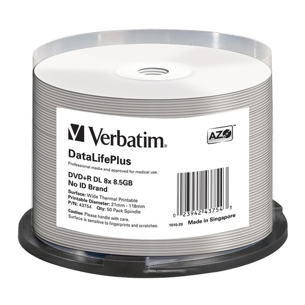 Verbatim DVD+R DL 8.5GB Wide Thermal 8x (50 Pack)