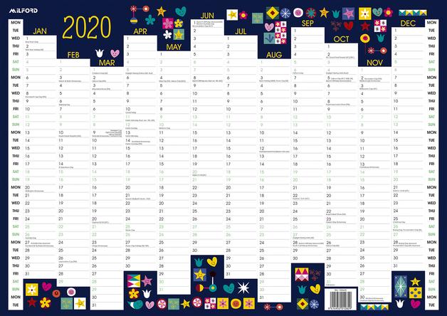 Milford: 2020 A3 Designer Wall Planner