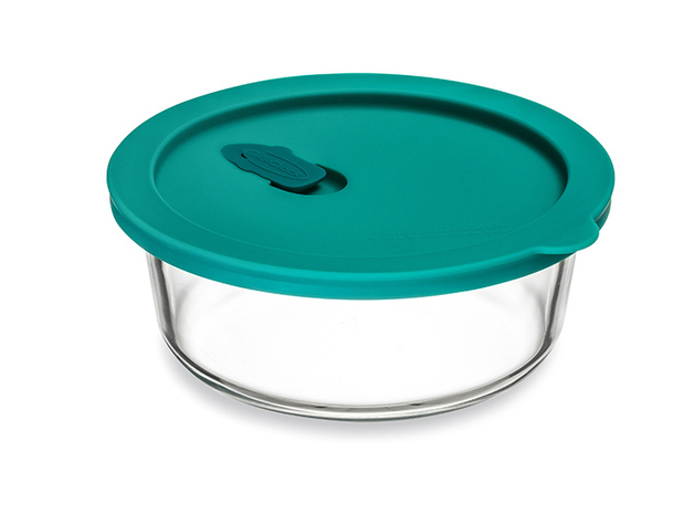 ClickClack: Cook+ Round Glass Container - Teal (0.6L/0.6qt)
