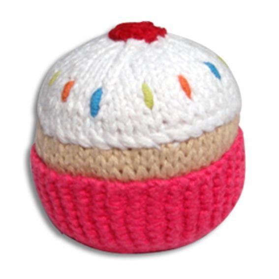 Pebble Cupcake Rattle - Hot Pink
