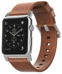 Nomad Horween Leather Strap for Apple Watch - Modern Build (Silver Hardware)