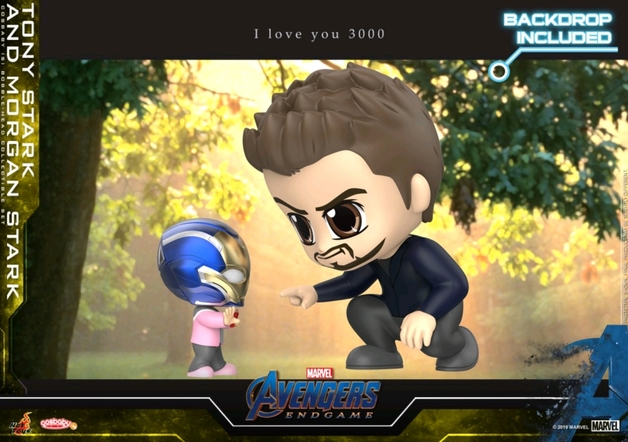 Avengers: Endgame - Tony & Morgan Stark (w/ Backdrop) Cosbaby Figure Set