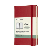 Moleskine: 2021 Diary Pocket Hard Cover 12 Month Weekly - Scarlet Red
