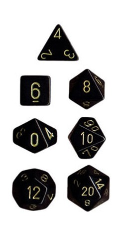 Chessex Opaque Polyhedral Dice Set - Black/Gold