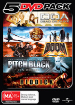 5 DVD Pack (DOA - Dead Or Alive / Serenity / Doom / Pitch Black / Chronicles Of Riddick) (5 Disc Set) on DVD