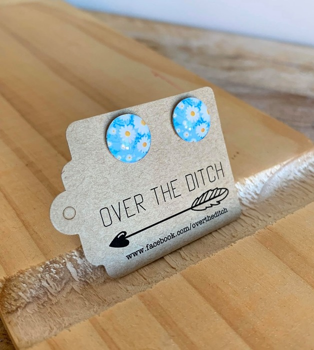 Over the Ditch: Dome Earrings - Blue & Daisies