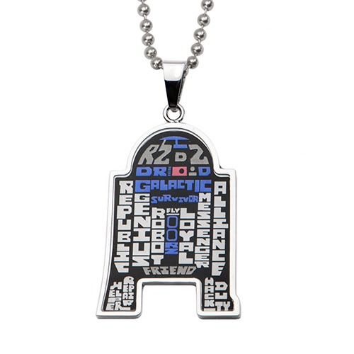 Star Wars R2-D2 Typography Pendant Necklace