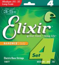 Elixir Medium 45-105 Long Scale NanoWeb Coating - Electric Bass Strings