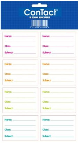 Contact Book Labels Plain - Pkt 16