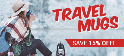 Save 15% off Travel Mugs!