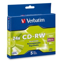Verbatim CD-RW 700MB Slim 16-24x Ultra Speed (5 Pack) image