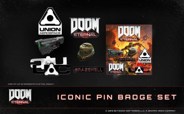 exclusive DOOM pin badge set