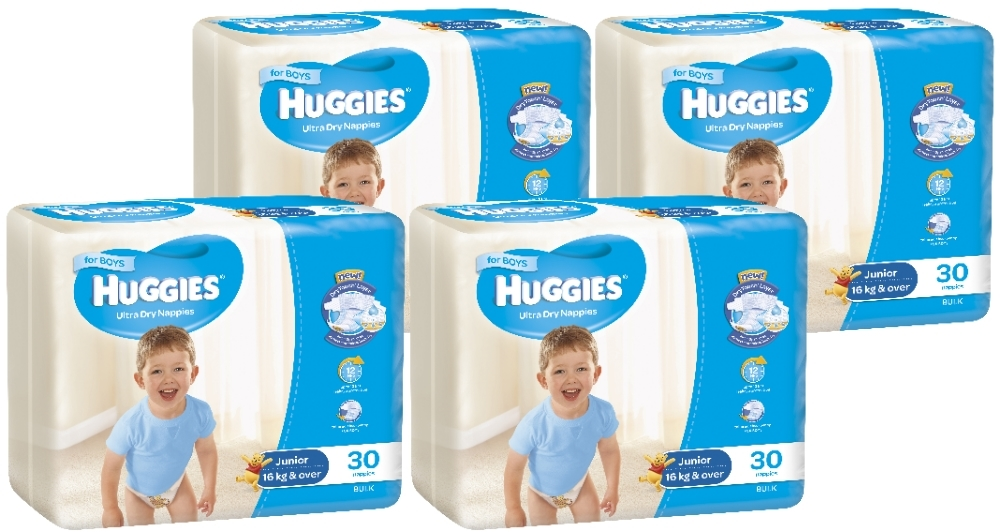 Huggies Ultra Dry Nappies Bulk Shipper - Junior Boy 16+kg (120) image