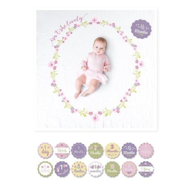 Lulujo's Baby First Year Milestone Blanket & Cards Set - Isn't She Lovely