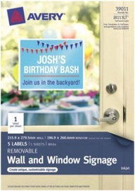 Avery White Removable Letter-Sized Window & Wall Signage 215.9mm x 279.5mm Pkt5
