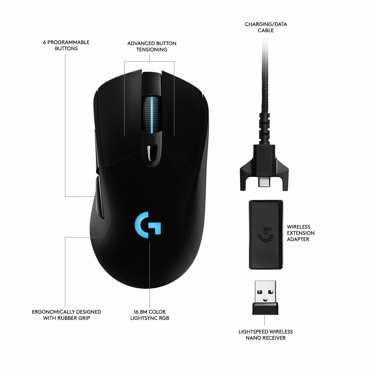 Logitech G703 HERO Lightspeed Wireless Gaming Mouse for PC image
