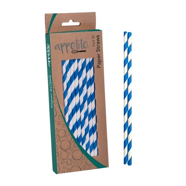 Appetito: Paper Straws - Blue Stripes (50 pk)