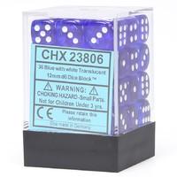 Chessex Signature 12mm D6 Dice Block: Blue & White Translucent
