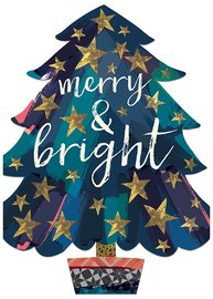 Hammond Gower: Merry & Bright Tree - Diecut Greeting Card