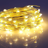 5m USB or Battery Powered LED Copper Wire String Lights- Yellow