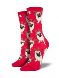 Antler Pug Crew Socks - Red