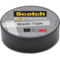 Scotch Washi Craft Tape Black 15mm x 10m