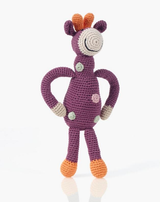 Pebble Organic Giraffe Rattle - Soft Purple