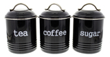 Tea/Sugar/Coffee Canisters 3 Set - Black