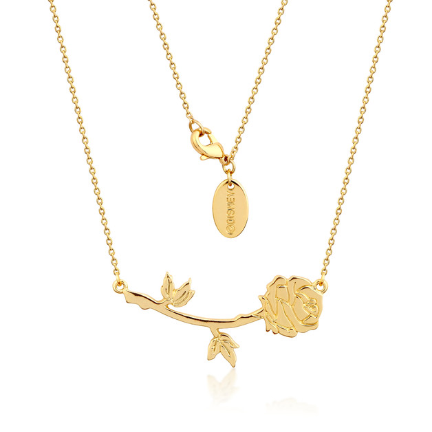 Couture Kingdom: Disney - Beauty and the Beast Rose Necklace (Yellow Gold)
