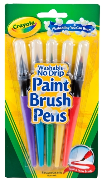 5 Washable Paint Brush Pens - Crayola image