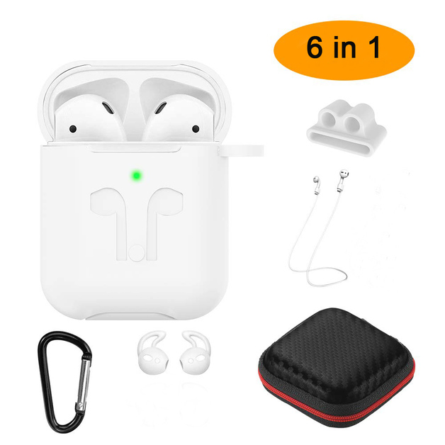 6 IN 1 Thick Case for AirPods 2019 Wireless - White
