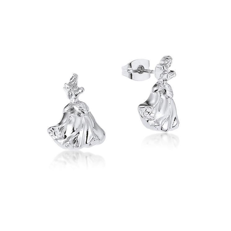 Disney Couture Princess Cinderella Stud Earrings - White Gold image