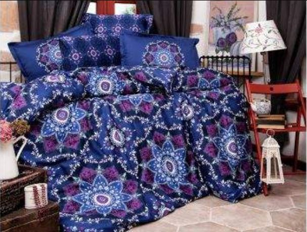 Queen Size Satin Quilt Cover Set - Dark Blue
