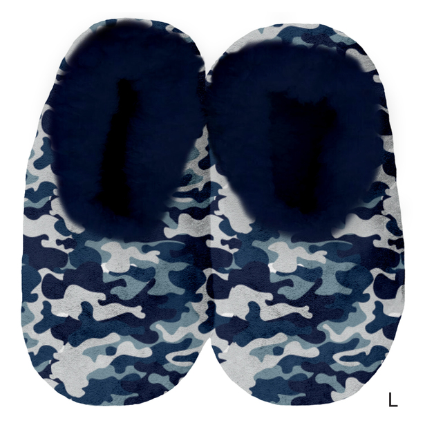 Sploshies: Men's Velvet Slippers - Blue Camo (Large)