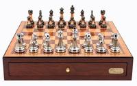 "Dal Rossi: Staunton Metal/Marble - 18"" Chess Set (Red Mahogany)"